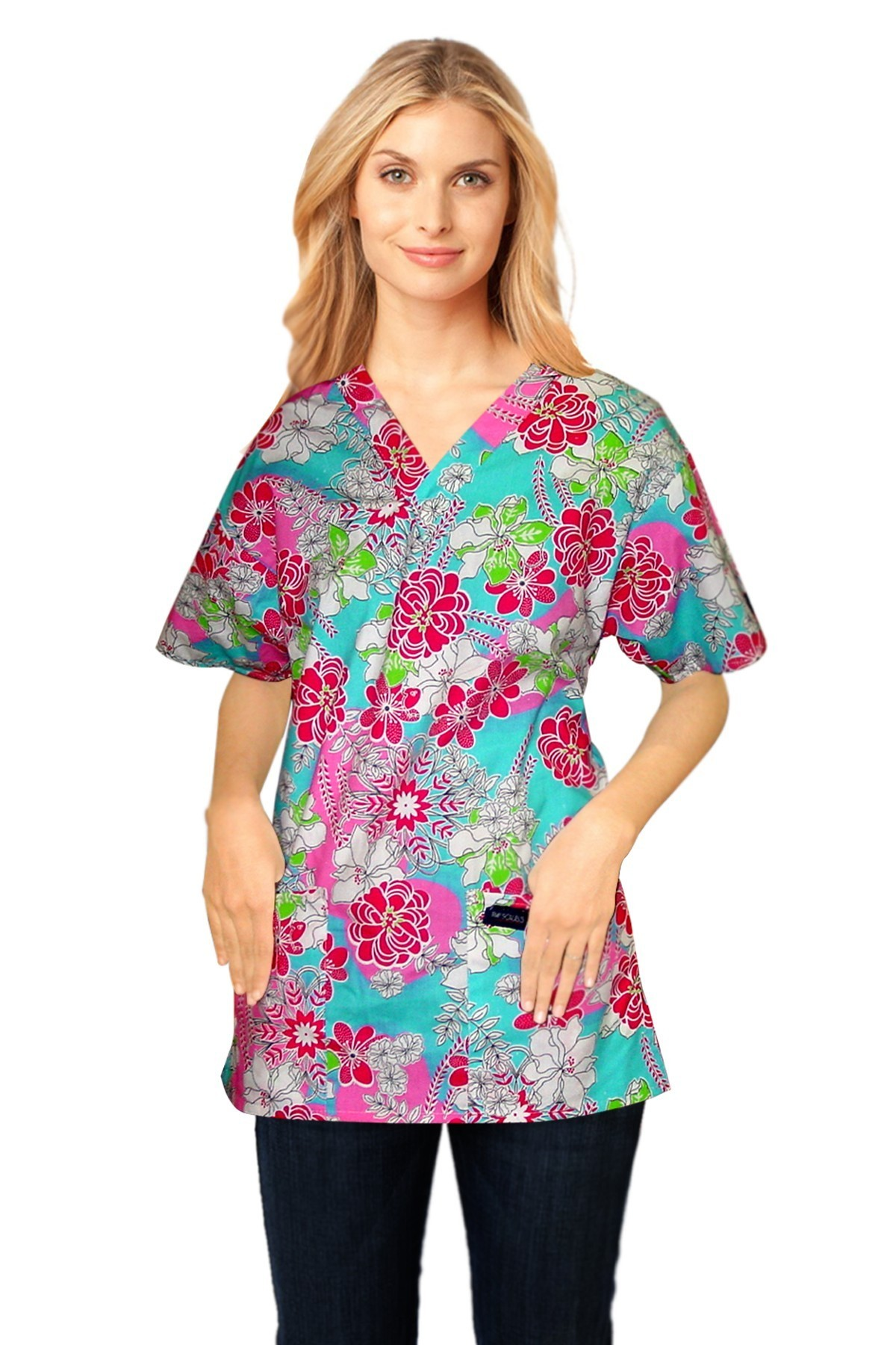 Printed scrub set 4 pocket ladies half sleeve white and pink flower print (2 pocket top and 2 pocket pant)