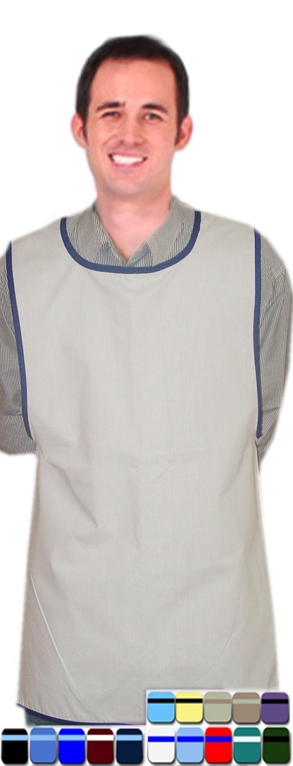 Smock apron solid with contrast piping without pocket