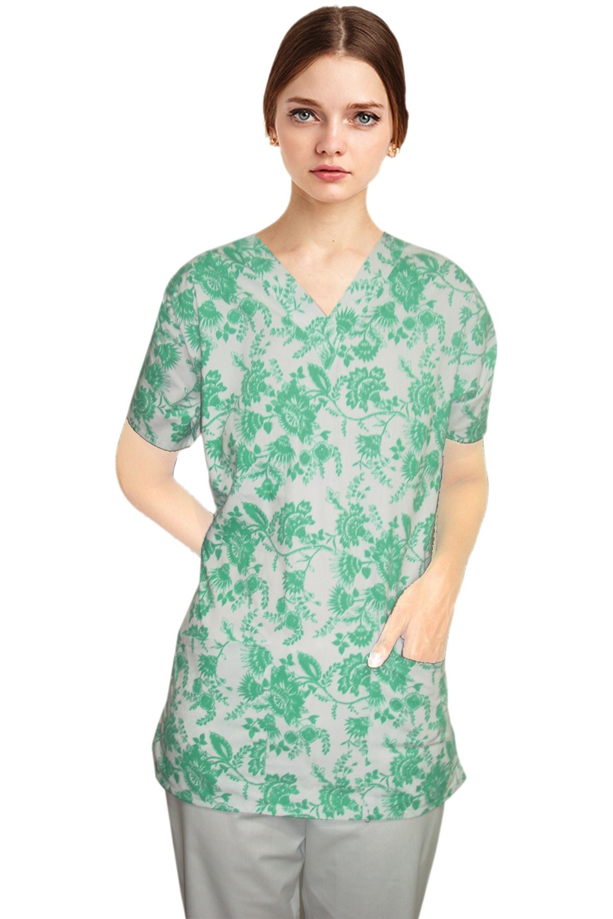 Top v neck 2 pocket half sleeve in petal and love peace prints