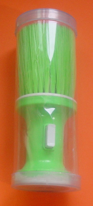 Stylish barber brush with easy powder releaser