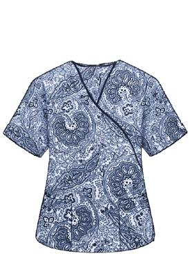 Printed scrub set mock wrap 5 pocket half sleeve in Blue Paisley Print with black piping  (top 3 pocket with black bottom 2 pocket boot cut)