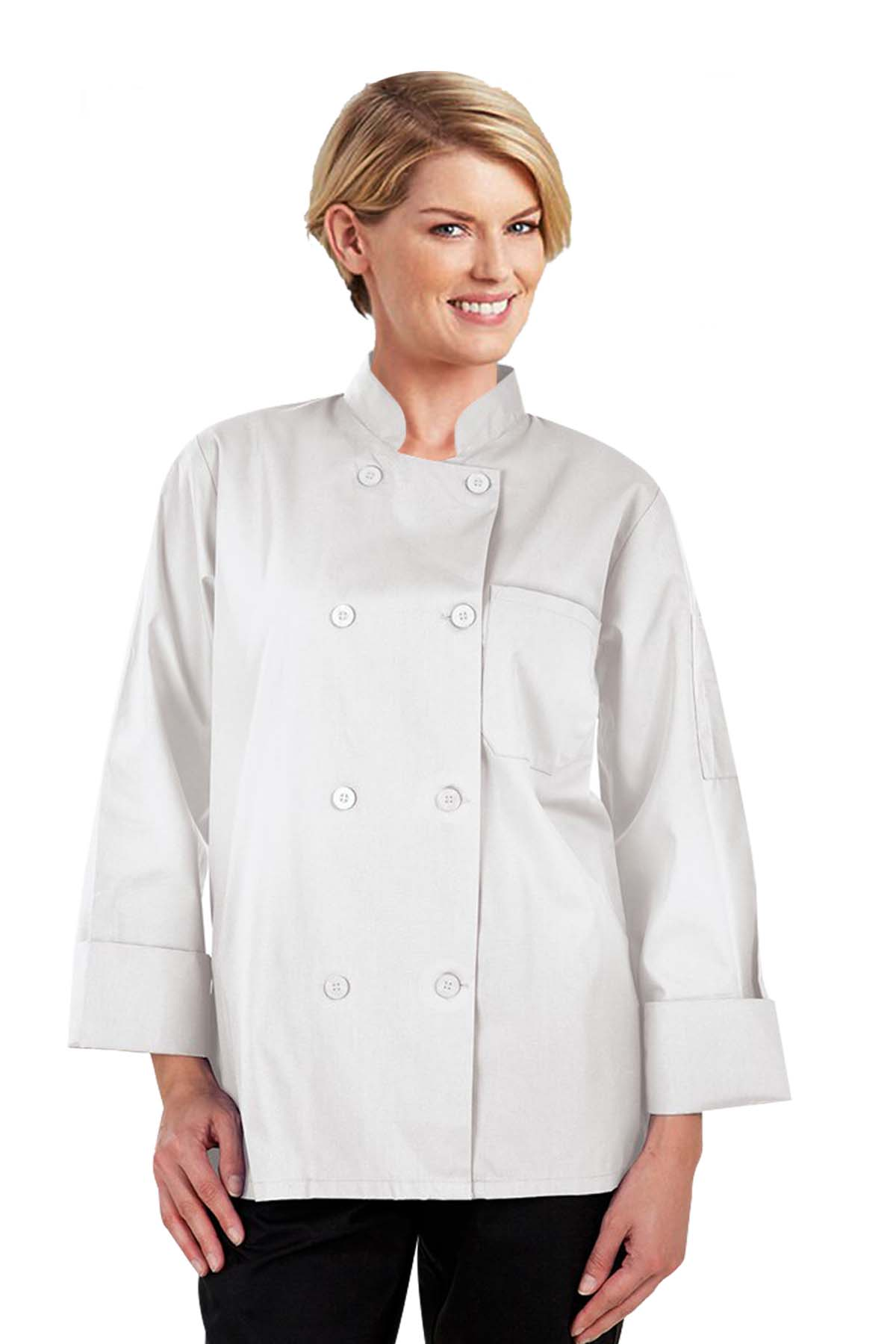 Poplin Women's Full Sleeve Chef Coat With 1 Chest pocket and 1 Sleeve Pocket - Button Front Closure (48 perc cotton 52 perc polyester Light Weight poplin)