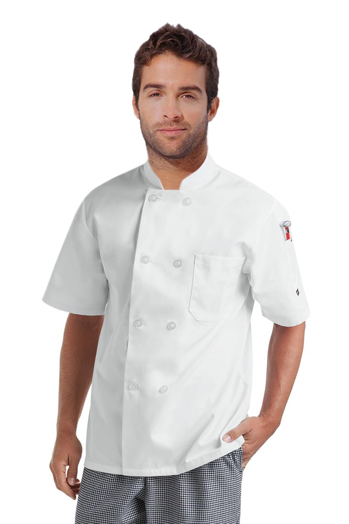 Poplin Men's Short Sleeve Chef Coat With 1 Chest pocket and 1 Sleeve Pocket - Button Front Closure(48 perc cotton 52 perc polyester Light Weight Poplin)