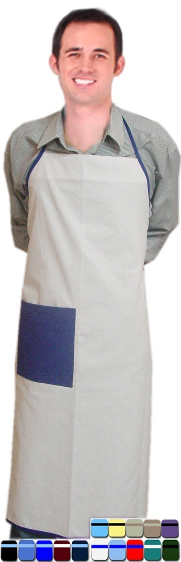 Microfiber apron bib style 1 front pocket back open solid