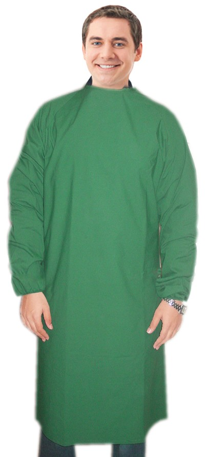 Charity surgical gown in full sleeve without rib with rmf text at front