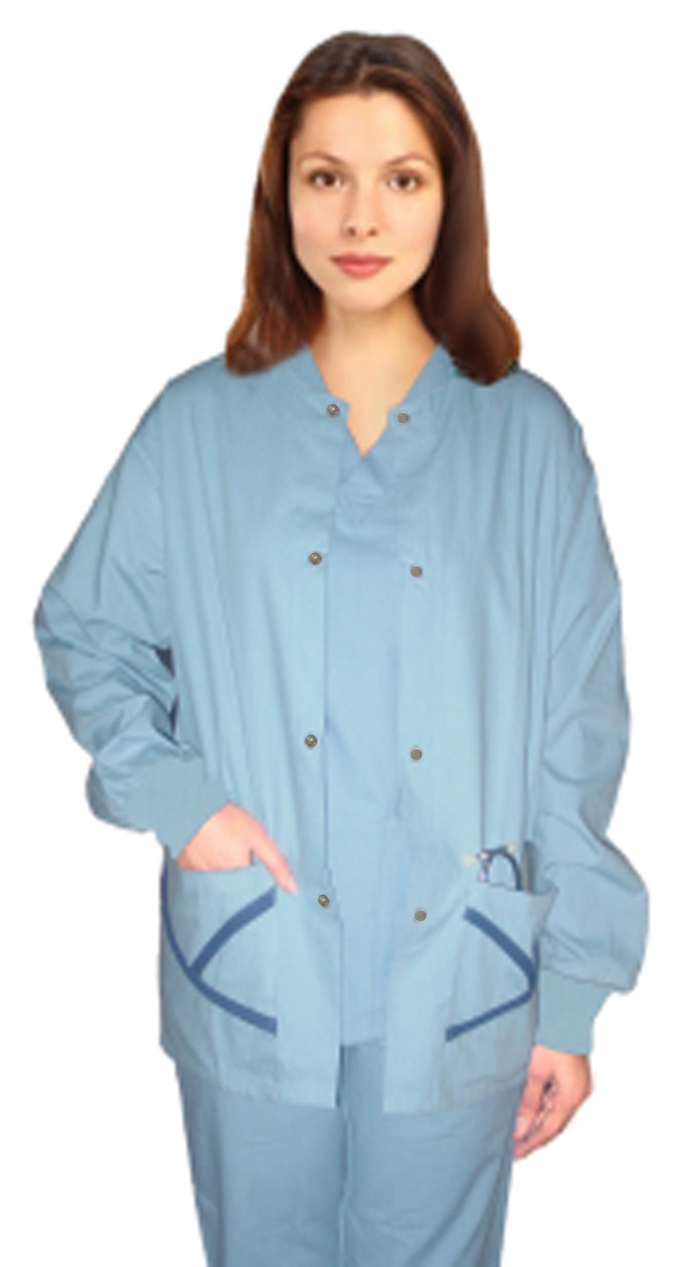 Jacket 2 pocket y neck contrast piping solid unisex full sleeve with rib