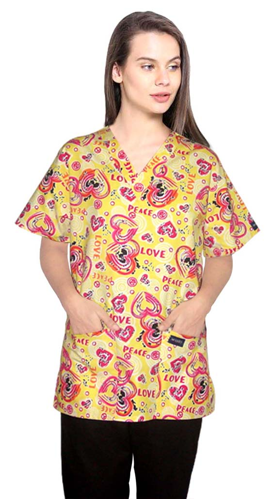 Printed scrub set 4 pocket ladies half sleeve in love peace yellow (2 pocket top and 2 pocket pant)
