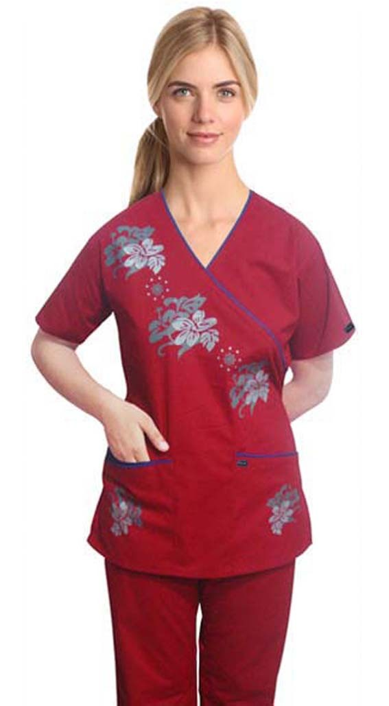 Stylish scrub set with mock wrap crystal print 5 pocket  half sleeves (top 3 pocket with bottom 2 pocket boot cut)