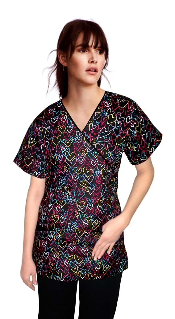 Printed scrub set mock wrap 5 pocket half sleeve in heart print with black piping (top 3 pocket with bottom 2 pocket boot cut)