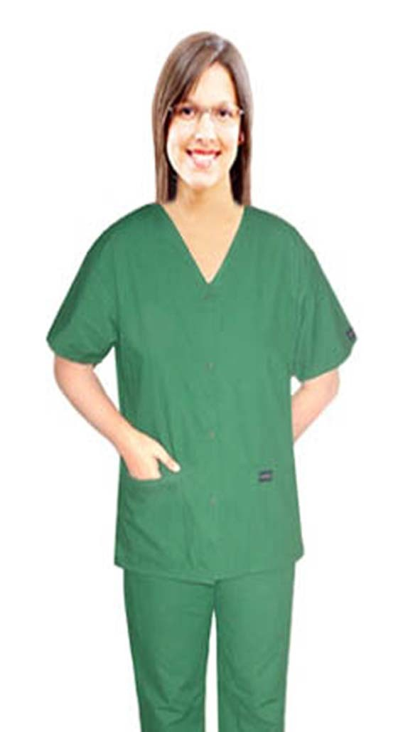 Scrub set 4 pocket solid ladies front open v-neck with snap buttons half sleeve (2 pocket top 2 pocket boot cut pant)