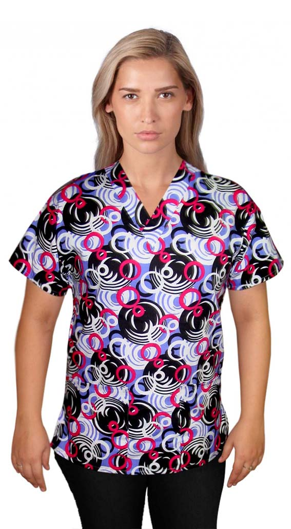 Printed scrub set 4 pocket ladies half sleeve in ring print (2 pocket top and 2 pocket pant)