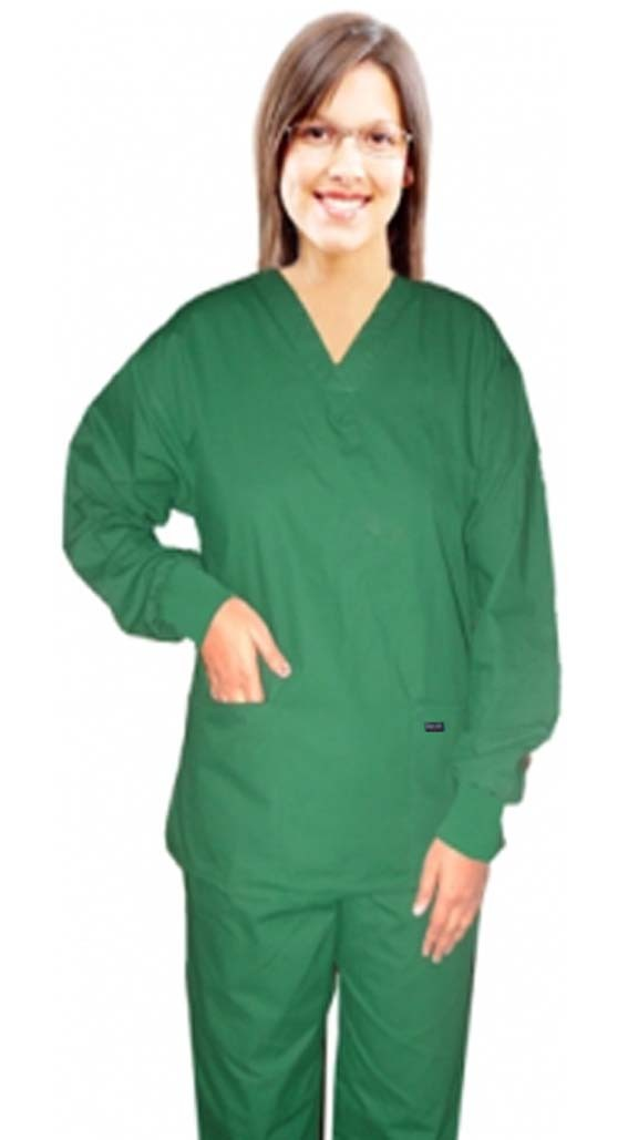Full sleeve with rib scrub set 4 pocket solid ladies (2 pocket top and 2 pocket pant)