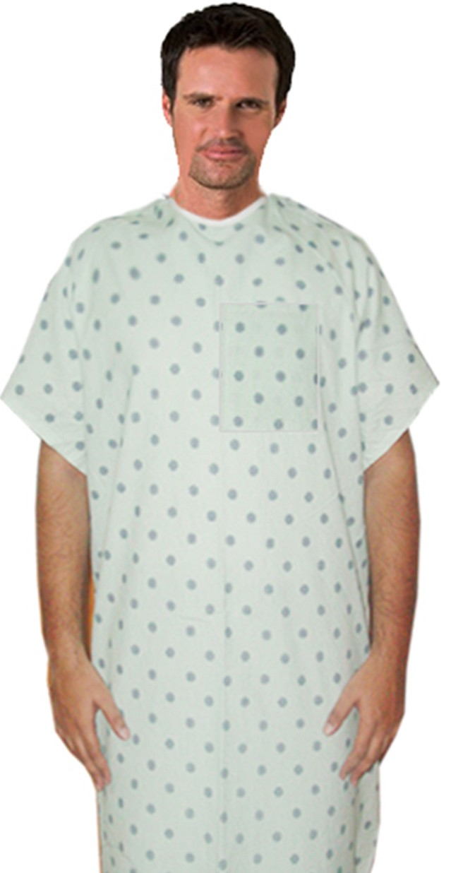 Patient gown 1 chest pocket half sleeve back tieable printed in multiple prints Chest 54 Inches Length 45 inches $6.25 and Chest 80 inches Length 49 inches $9.25