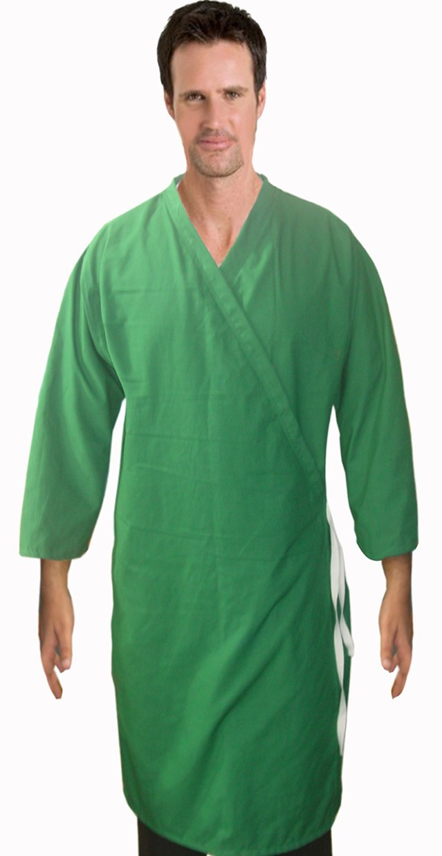 Patient gown front open tieable 3/4 sleeve with plaket at collar chest 54 Inches Length 45 inches $7.25 and Chest 80 inches Length 49 inches $10.25