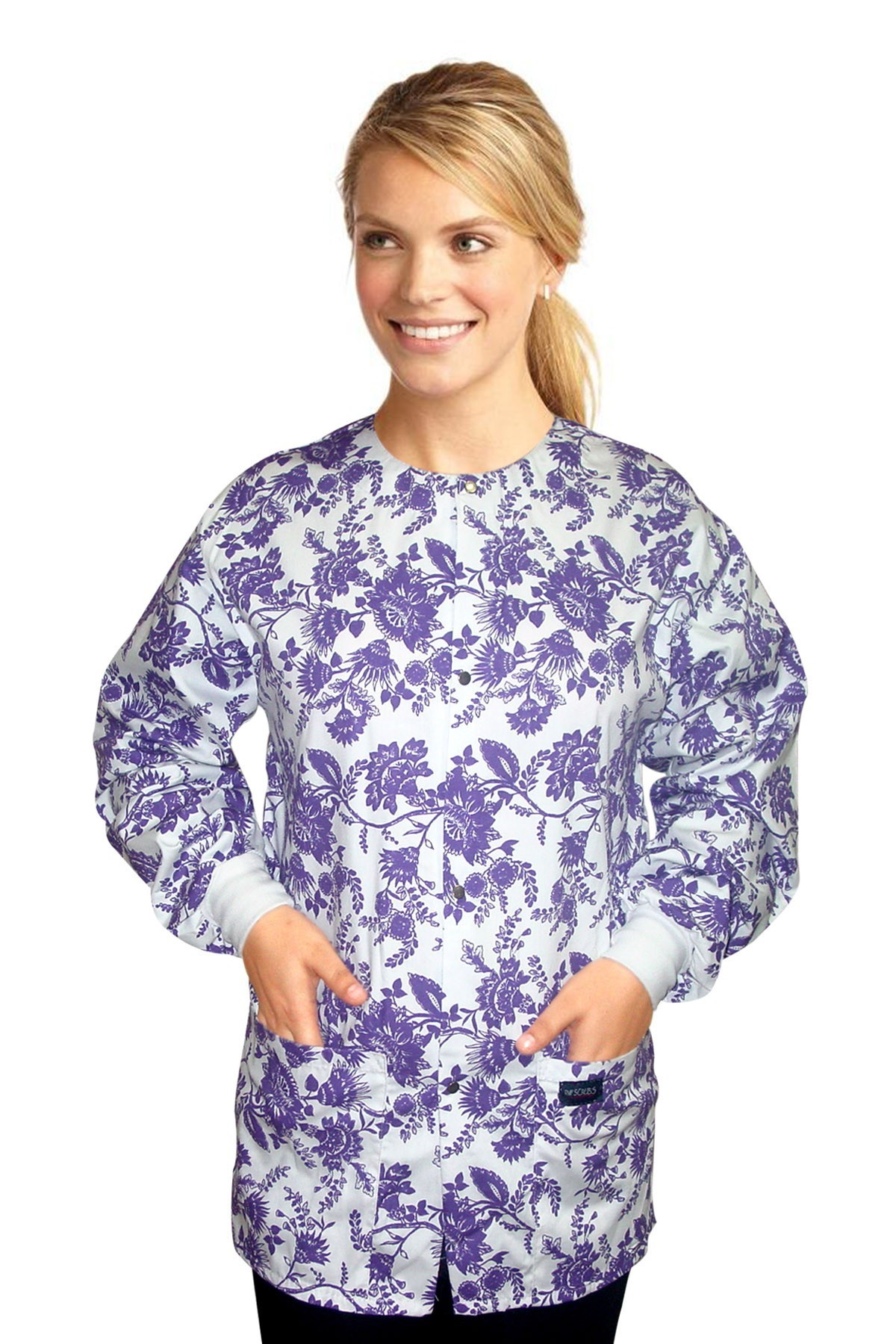 Jacket 2 pocket printed unisex full sleeve in petal purple print with rib