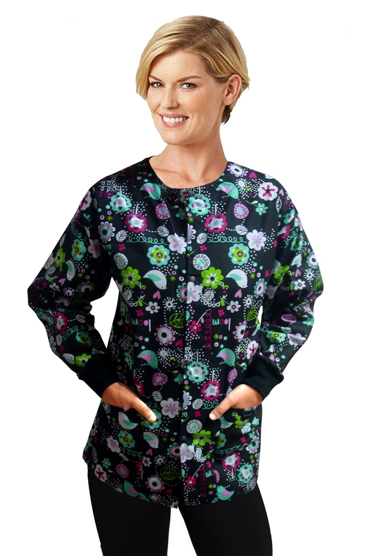 Jacket 2 pocket printed unisex full sleeve in bird print with rib