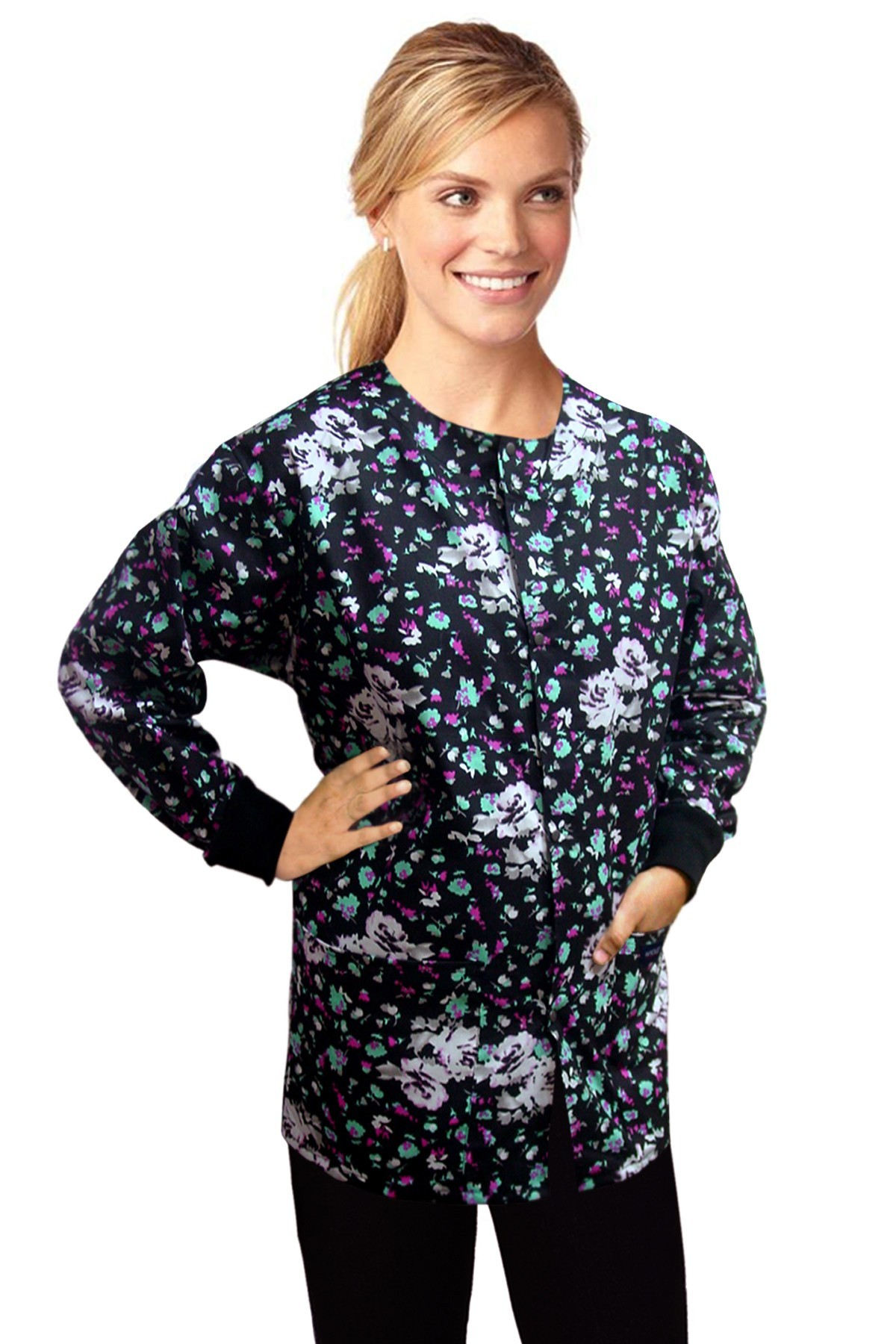 Jacket 2 pocket printed unisex full sleeve in white flower and black print with rib