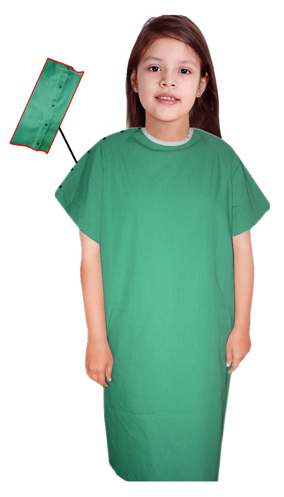 Children Patient Gown Half Sleeve with Contrast Piping Back Open, shoulder opening with snap buttons Tie-able from Two Points Chest 33 Inches Length 26 Inches And Chest 41 Inches Length 35 Inches (Available in 37 Color)