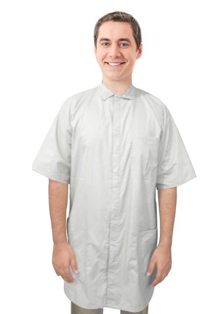 Poplin Labcoat unisex half sleeve snap buttons  with covered placket 3 pockets solid pleated (48 perc cotton 52 perc polyester) in 36 38 40 42 inch lengths