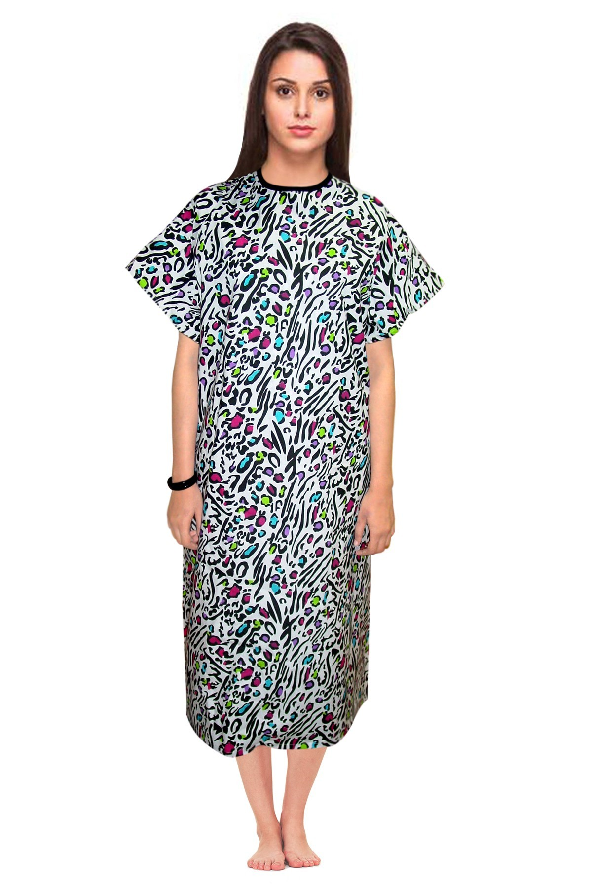 Patient gown half sleeve printed back open, tie-able  from two points Leopard print Chest 54 Inches Length 45 inches $6.25 and Chest 80 inches Length 49 inches $9.25