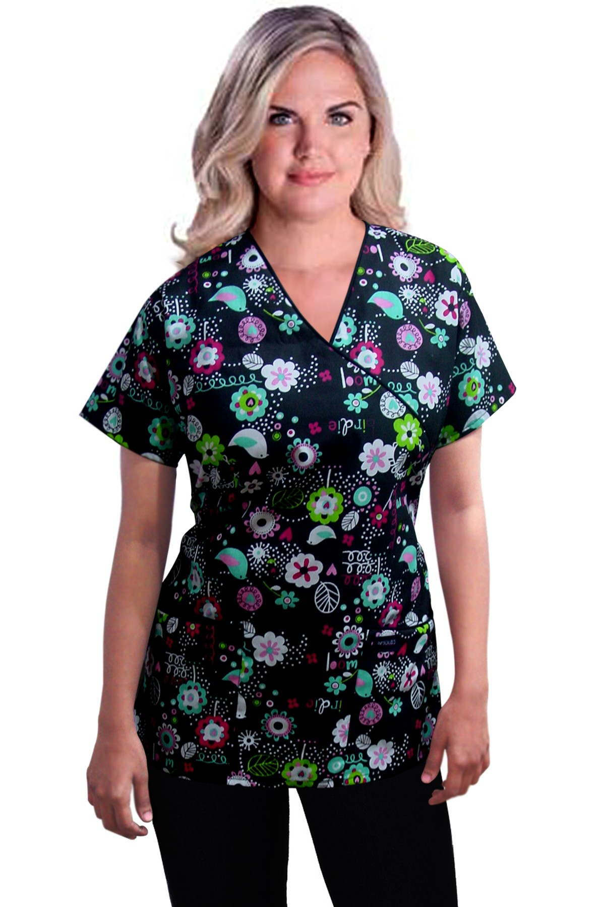Printed scrub set mock wrap 5 pocket half sleeve in Bird print with black piping  (top 3 pocket with bottom 2 pocket boot cut)
