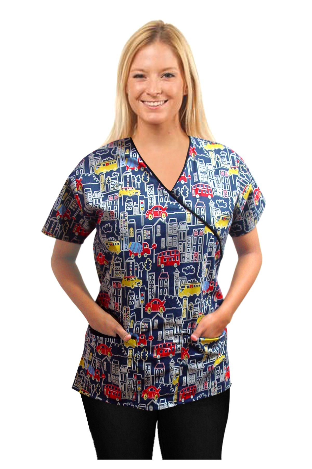 Top mock wrap 3 pocket half sleeve in Building and bus print with black piping