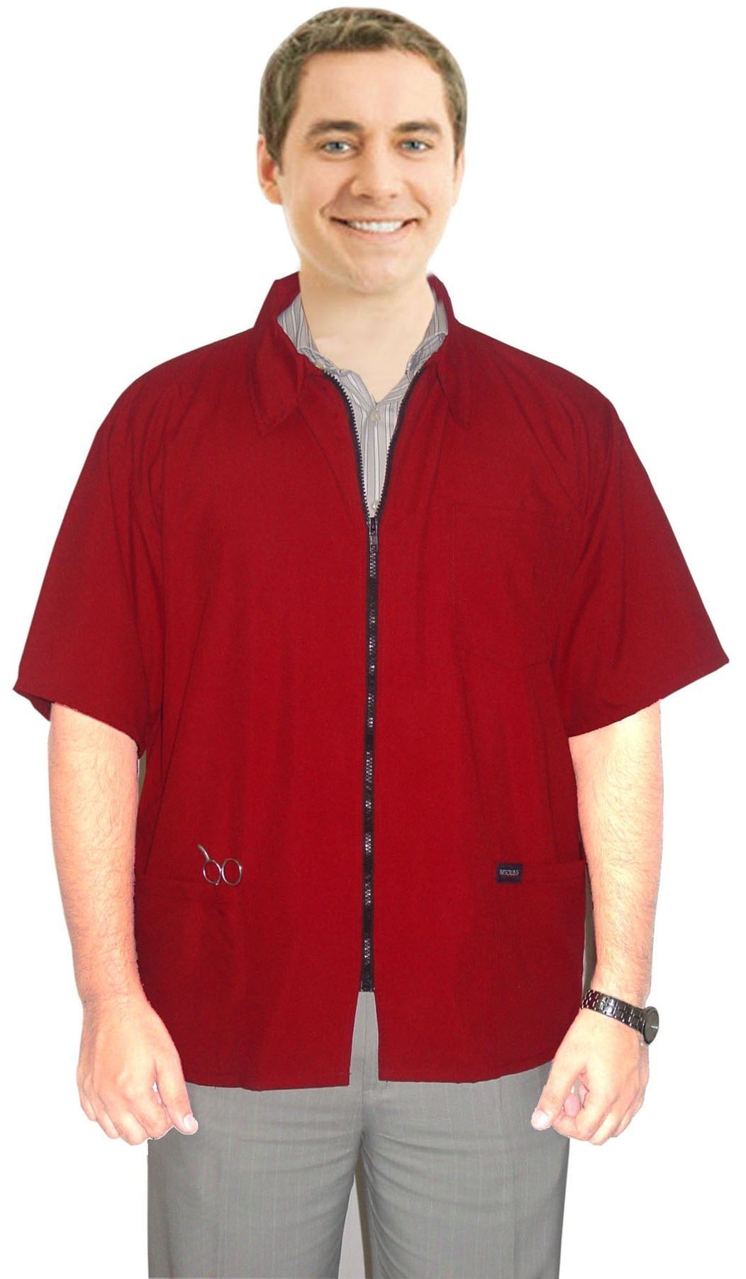 Microfiber barber jacket 3 pocket half sleeve with zipper