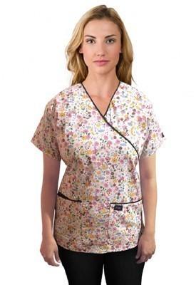 Printed scrub set mock wrap 5 pocket half sleeve in Multi flower Print with black piping  (top 3 pocket with black bottom 2 pocket boot cut)