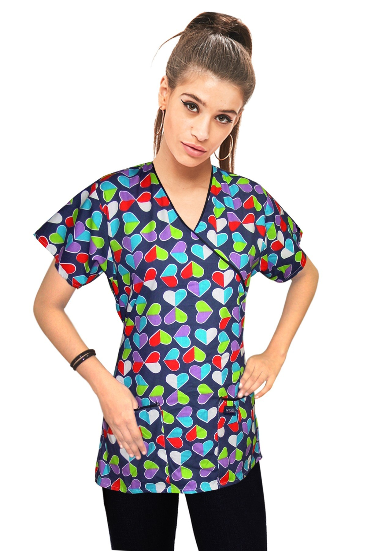 Printed scrub set mock wrap 5 pocket half sleeve in Technicolor hearts print with black piping  (top 3 pocket with bottom 2 pocket boot cut)