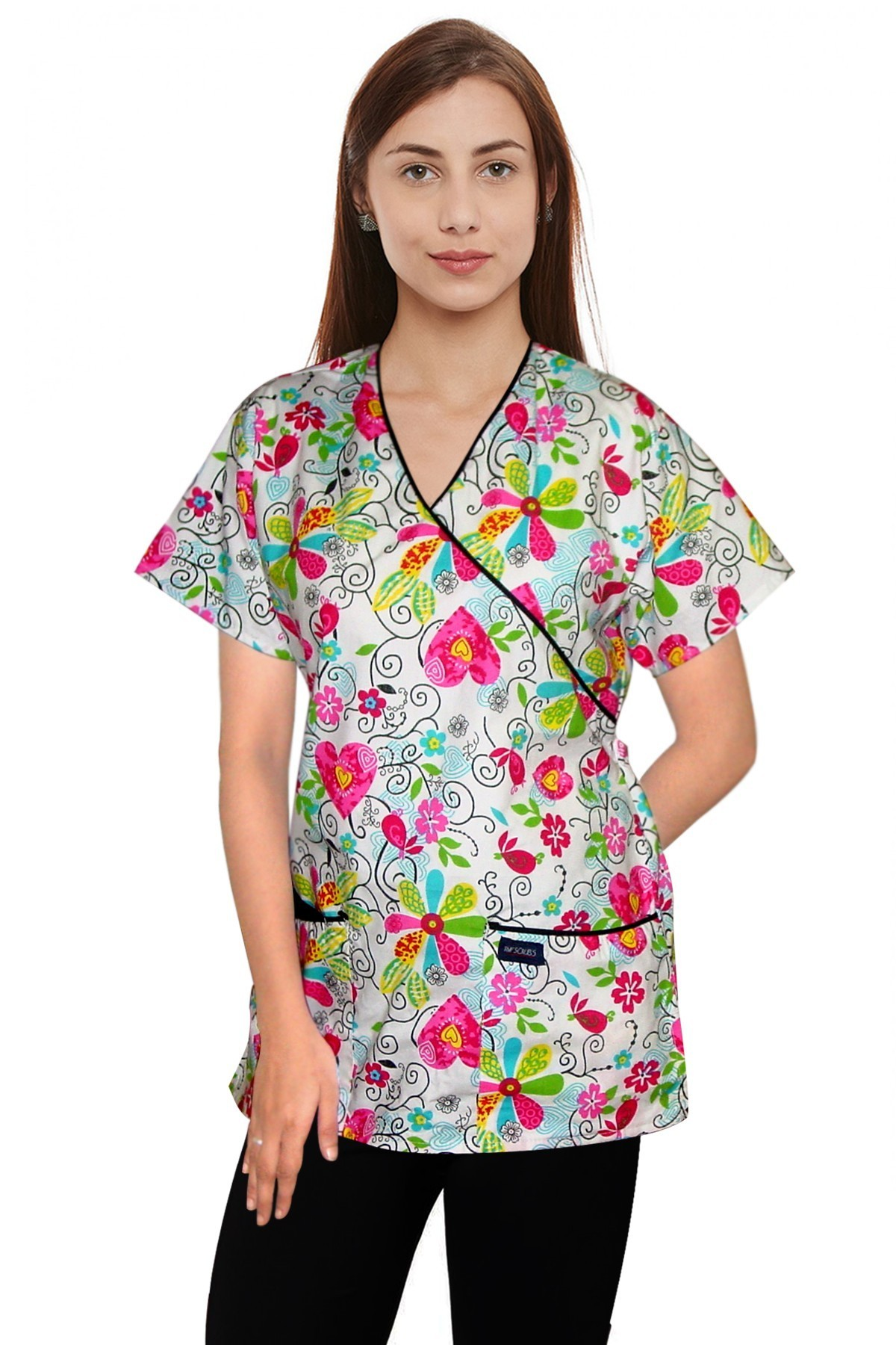 Printed scrub set mock wrap 5 pocket half sleeve in big heart flower print with black piping (top 3 pocket with bottom 2 pocket boot cut)