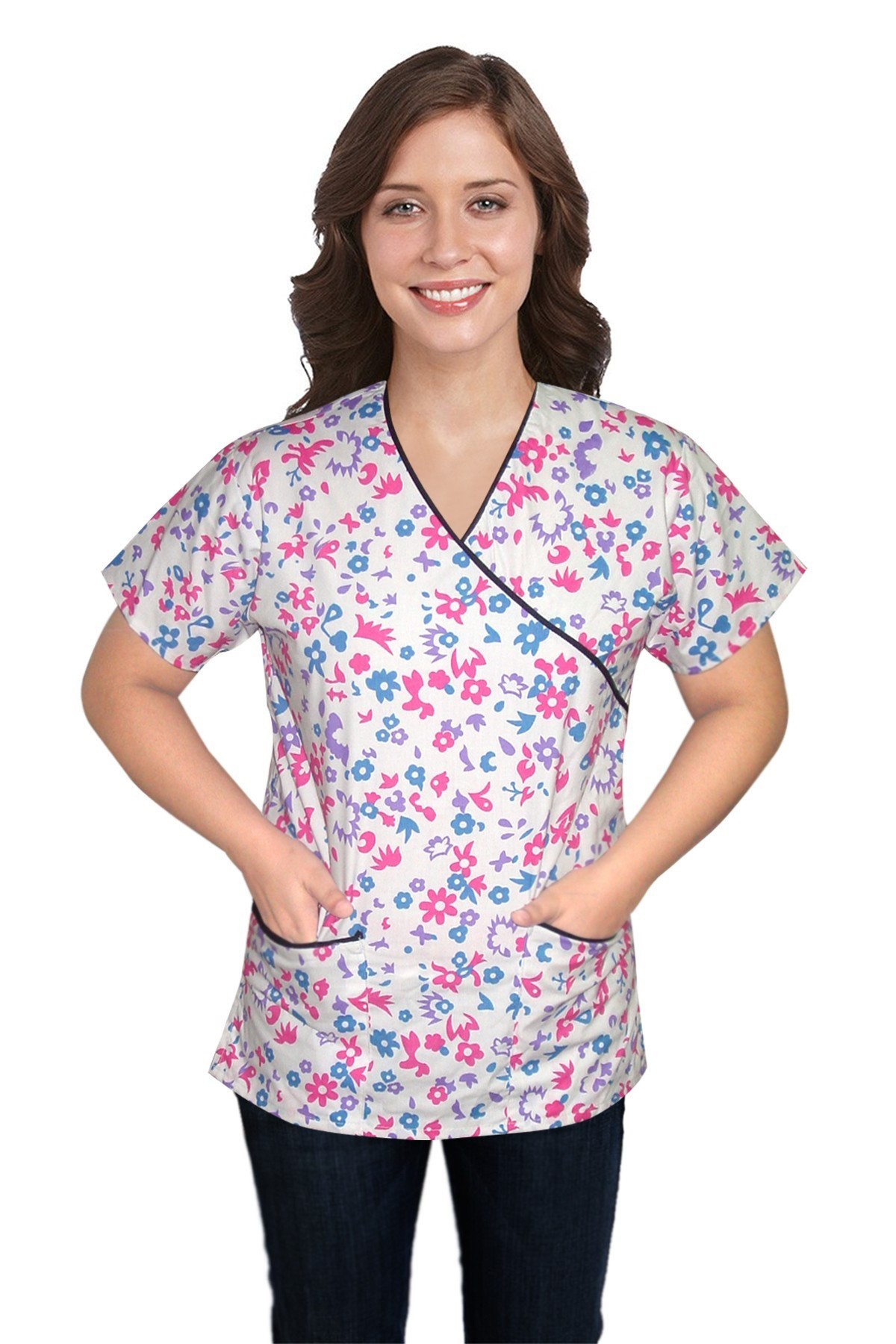 Printed scrub set mock wrap 5 pocket half sleeve in multi floral with black piping(top 3 pocket with bottom 2 pocket boot cut)