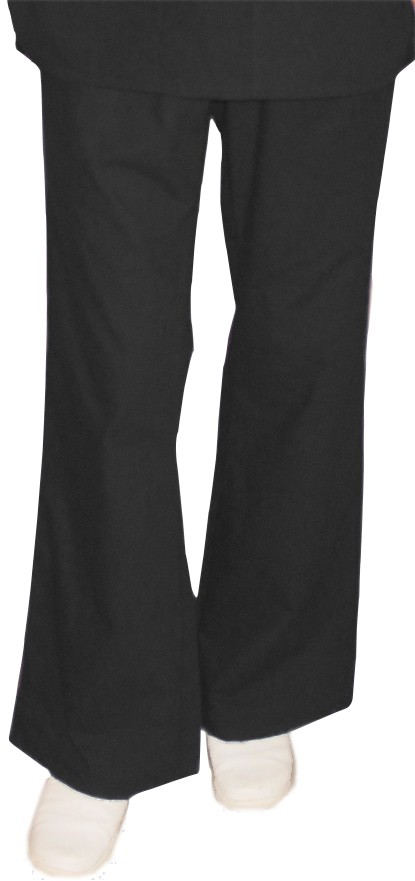 Stretchable Pant 2 side pockets flare leg waistband with drawstring and elastic both ladies in 35% Cotton 63% Polyester 2% Spandex