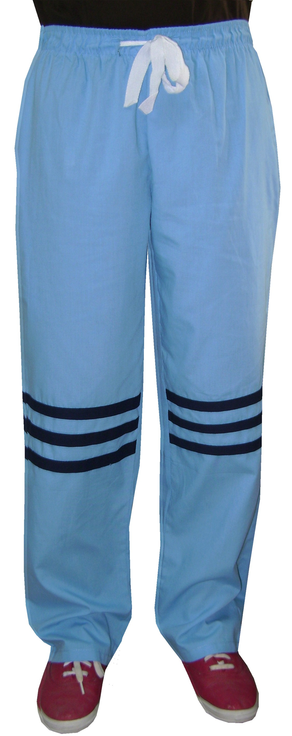 Pant 2 side pockets contrast stripes waistband with drawstring and elastic both unisex