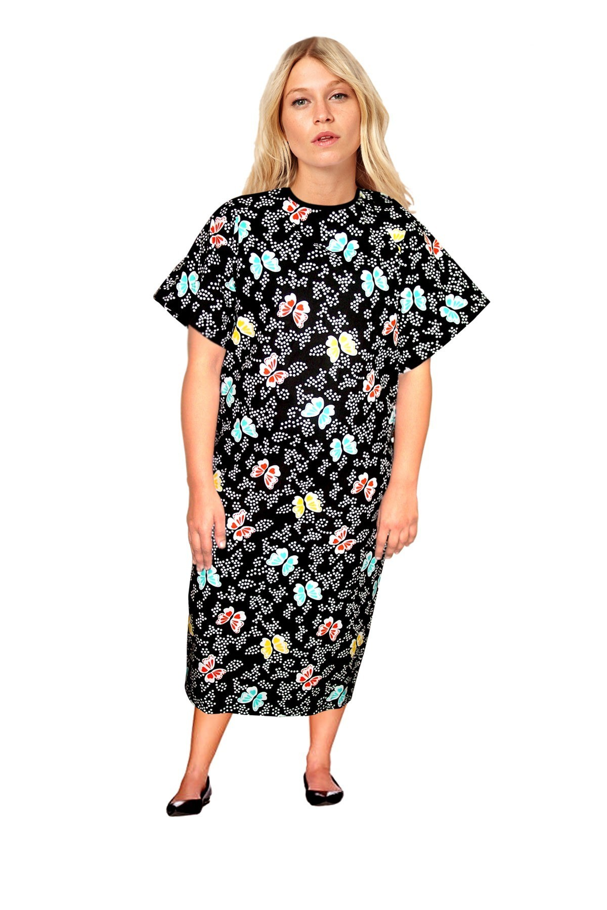 Patient gown half sleeve  printed back open, tie-able  from two points butterfly print Chest 54 Inches Length 45 inches $6.25 and Chest 80 inches Length 49 inches $9.25