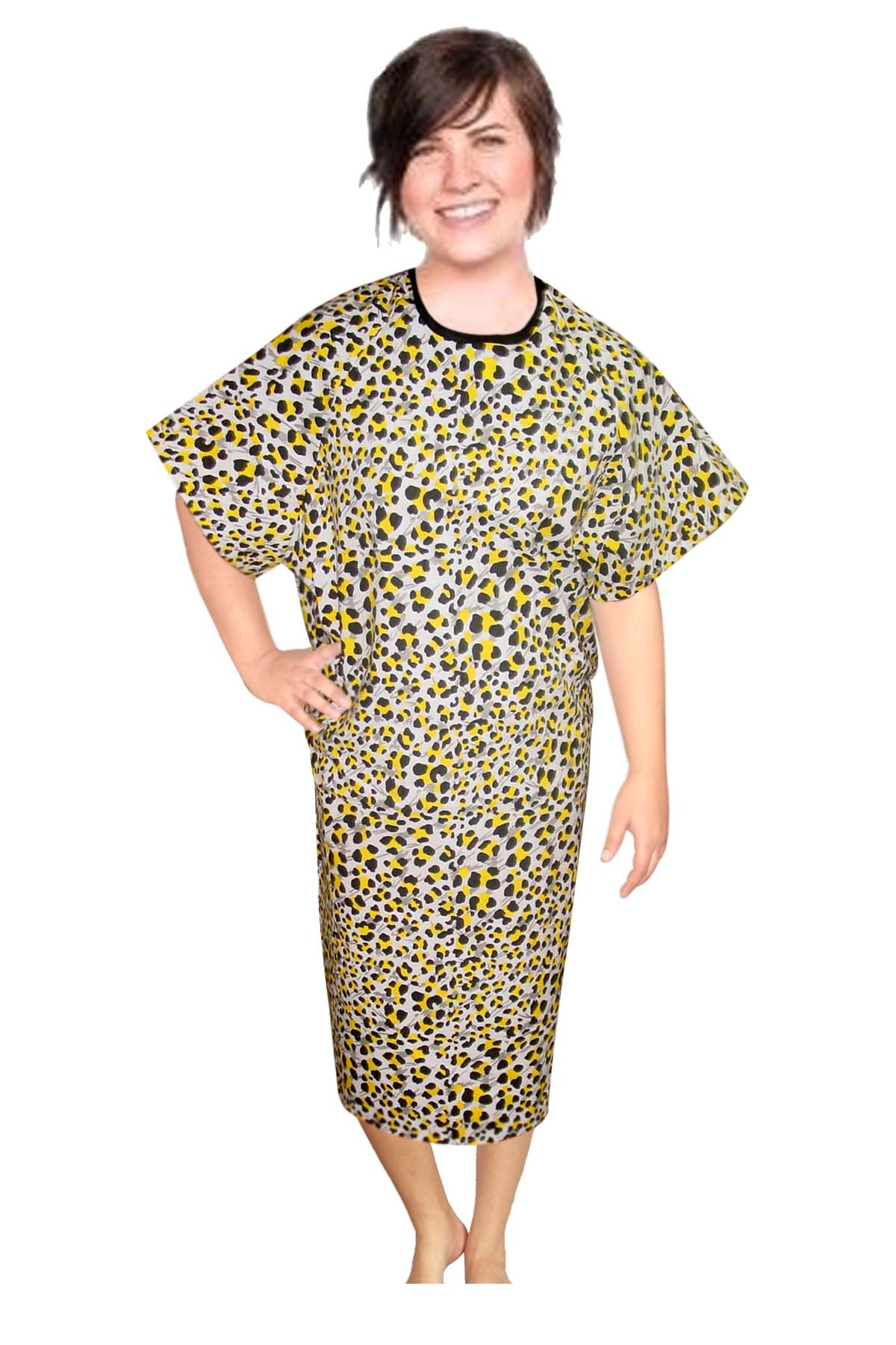 Patient gown half sleeve printed back open, tie-able  from two points yellow black print Chest 54 Inches Length 45 inches $6.25 and Chest 80 inches Length 49 inches $9.25