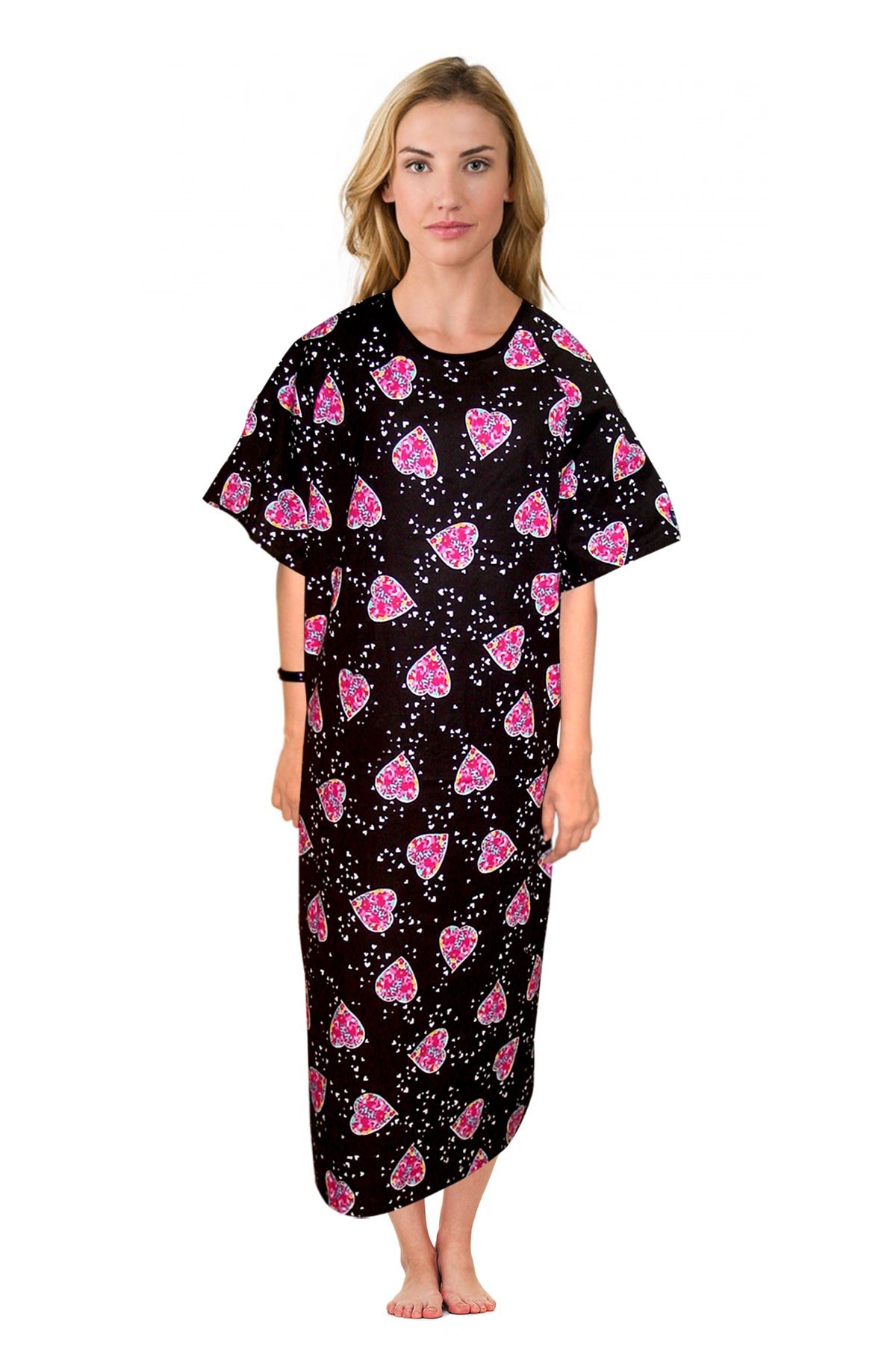 Patient gown half sleeve printed back open, tie-able  from two points pink blue big heart print Chest 54 Inches Length 45 inches $6.25 and Chest 80 inches Length 49 inches $9.25