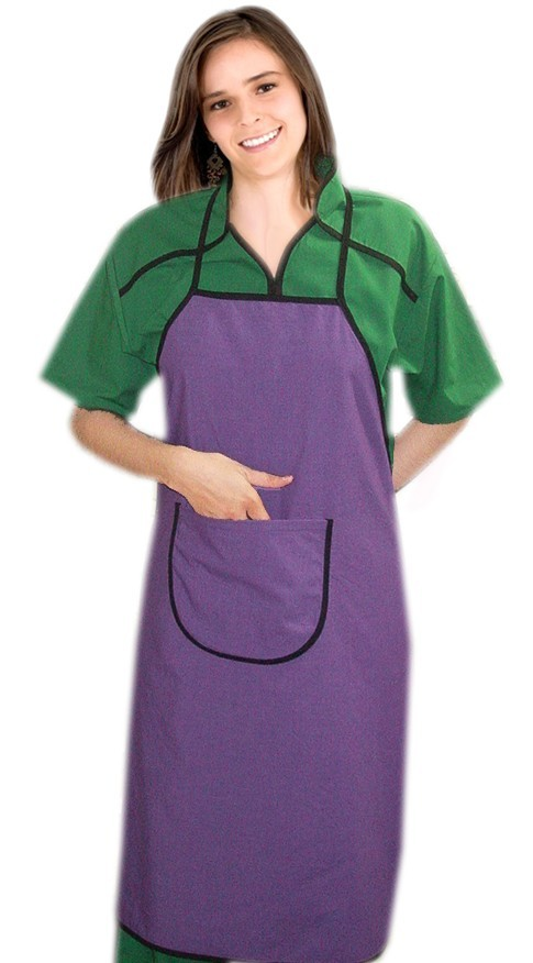 Apron bib style 1 front round pocket back open solid