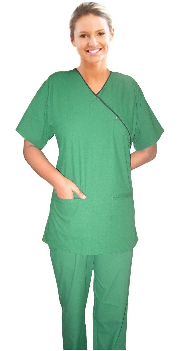 A_scrub set 4 pocket solid ladies half sleeve mockwrap side with snap buttons with welt pockets(2pkt top, 2pkt bootcut pant)