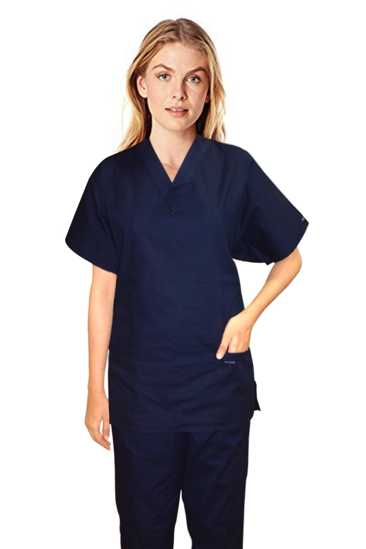 Stretchable Scrub set 4 pocket solid ladies half sleeve (2 pocket top and 2 pocket pant) 97% Cotton 3% Spandex