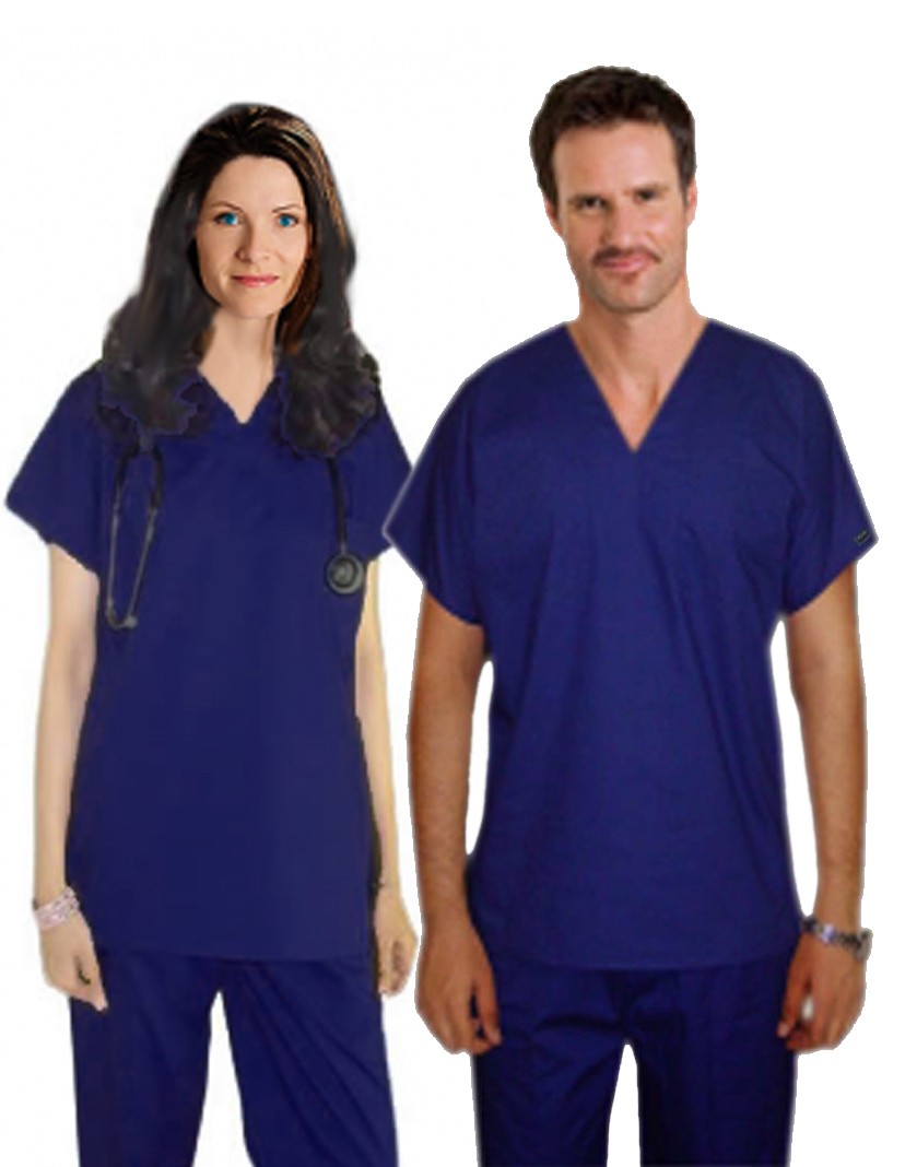 Scrub set 2 pocket normal unisex solid half sleeve (top 1 pocket with bottom 1 pocket)