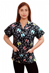 Top v neck 2 pocket half sleeve in butterfly print