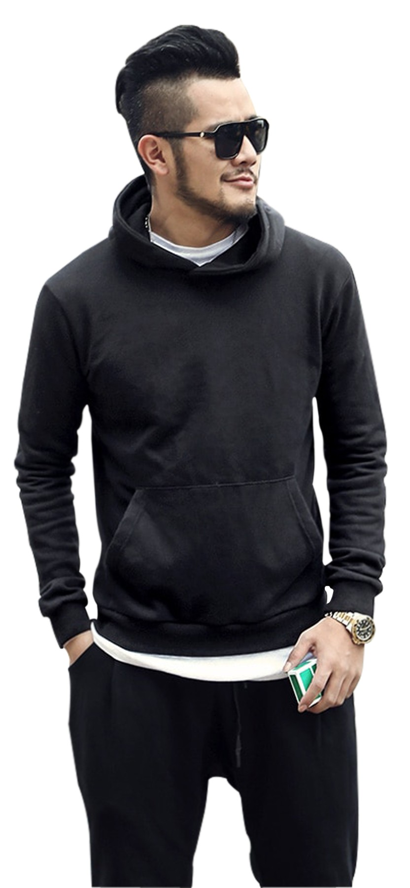 Unisex round neck Hoodie 2 pockets Full sleeves with rib