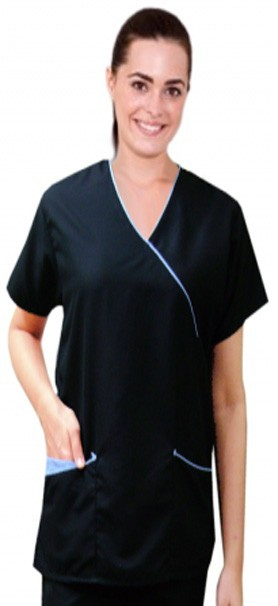 Microfiber top mock wrap 3 pocket half sleeve solid