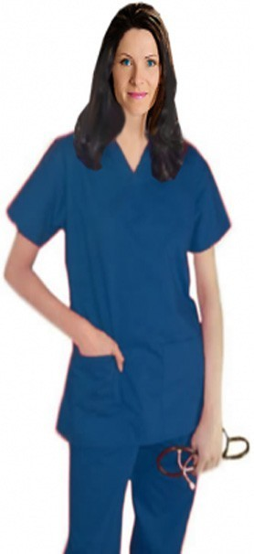 School/college scrubs Top v neck 2 pocket solid ladies half sleeve
