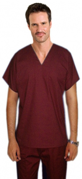 Microfiber Top v neck 1 pocket unisex reversible solid top half sleeve