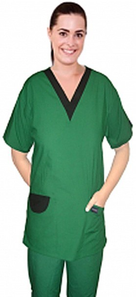 Top v neck 2 pocket half sleeve with v contrast and 2 pocket flaps