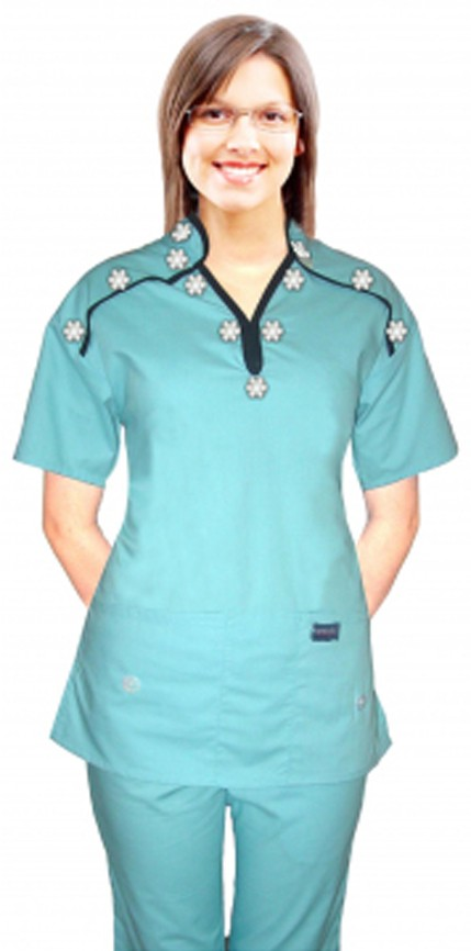 Stylish top small white flower m style collar 2 pocket ladies scrub top half sleeve