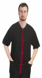 Clearance Scrub Jacket 3 pocket solid half sleeve unisex Snap Buttons in Black color