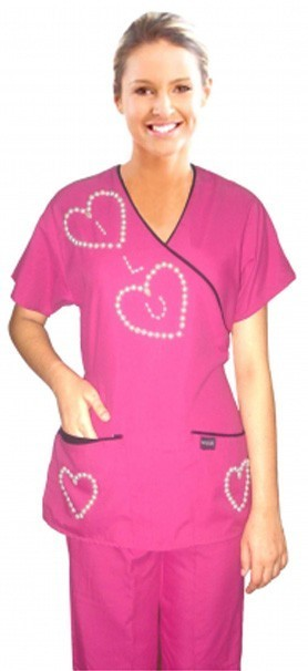 STYLISH SET LOVE HEART STYLE MOCKWRAP SET HALF SLEEVE (Top 3Pkt with Bottom 2Pkt Bootcut)