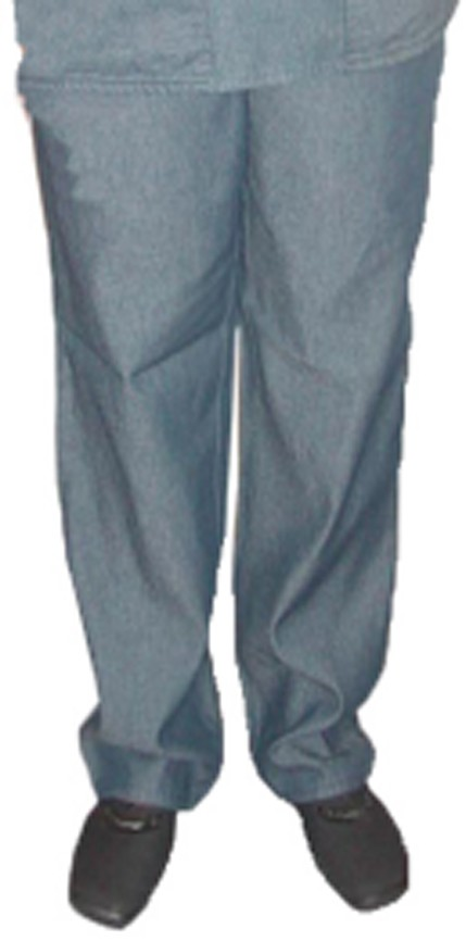 Denim scrubs normal pant with elasticated twill drawstring (white) with 2 side pockets.